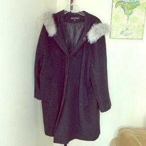 Ellen tracy plus wool coat w blue fox trim sz 16